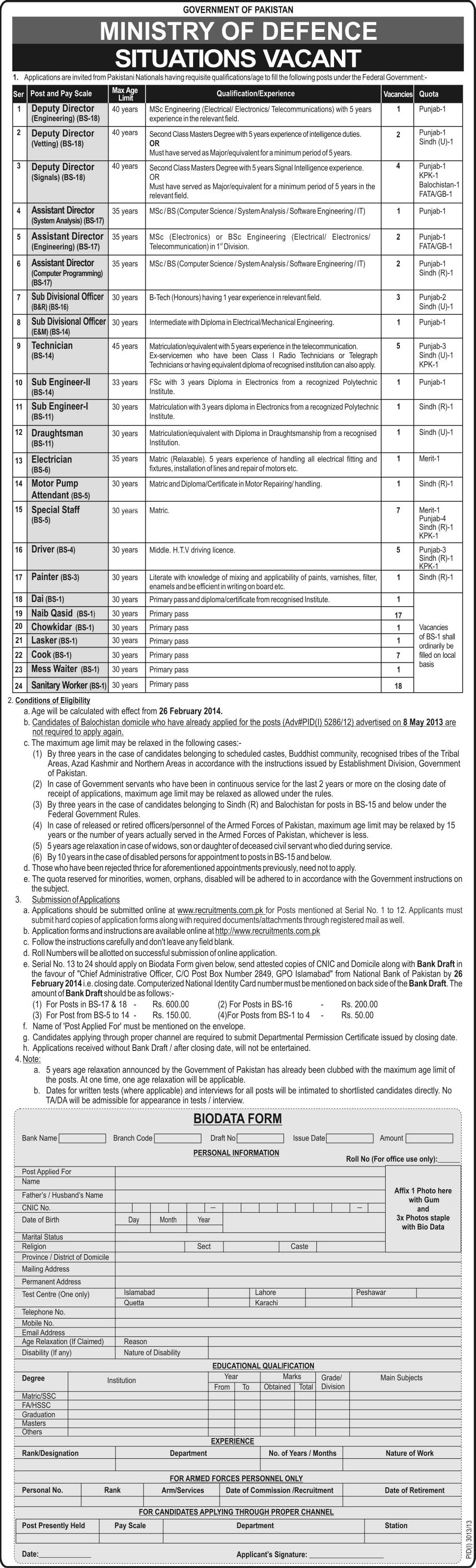Ministry of Defence Jobs 2014 Apply Online Application Form