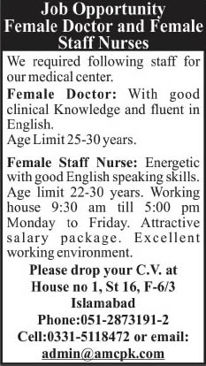 Staff Nurses & Lady Doctor Jobs in Islamabad 2014 at Aziz Medical Center