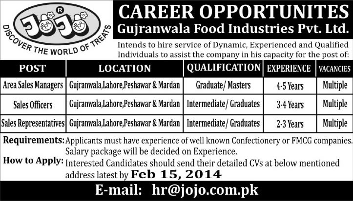 Jojo Foods - Gujranwala Food Industries Pvt. Ltd. Jobs 2014 for Sales Managers / Officers