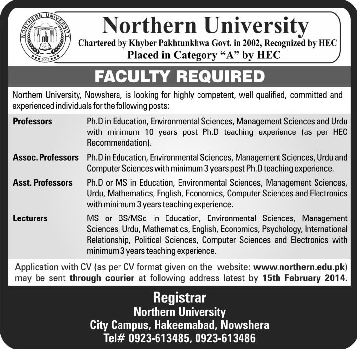 Northern University Nowshera Jobs 2014 for Professors, Associate / Assistant Professors & Lecturers