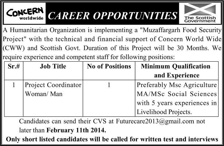 Concern Worldwide Jobs 2014 February for Project ...