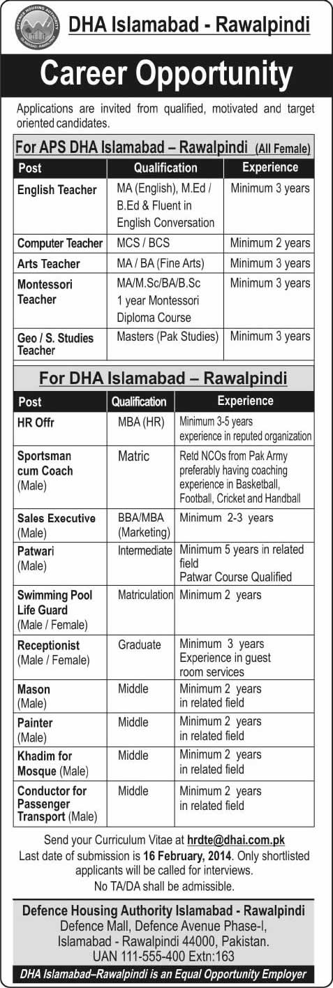 Jobs in DHA Islamabad Rawalpindi 2014 February Latest