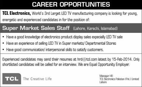 TCL Electronics Pakistan (Pvt.) Limited Jobs 2014 February for Super Market Sales Staff