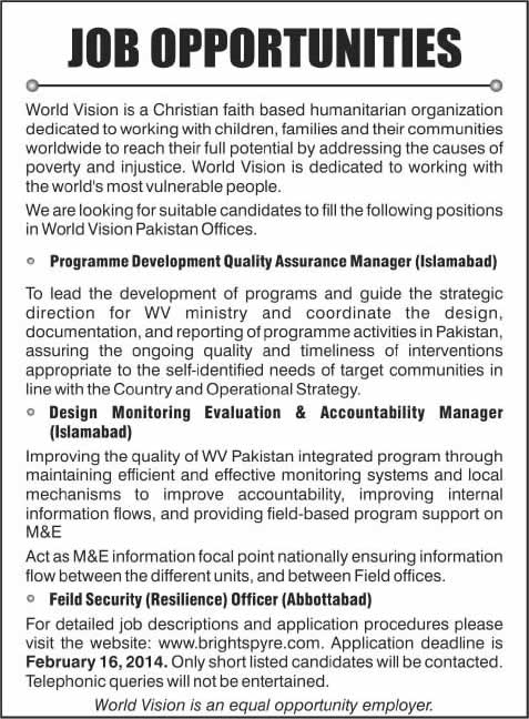 World Vision Pakistan Jobs 2014 February Latest for Managers & Field Security Officer