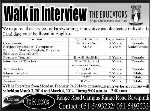 The Educators Range Road Campus Rawalpindi Jobs 2014 February for Teaching & Non-Teaching Staff