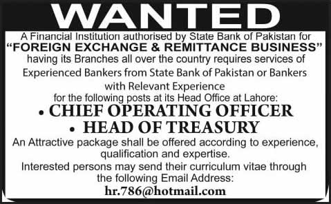 Chief Operating Officer / Head of Treasury Jobs in Lahore 2014 April-May