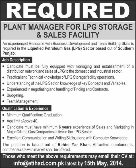 Plant Manager Jobs In Rahim Yar Khan  May For Lpg Storage