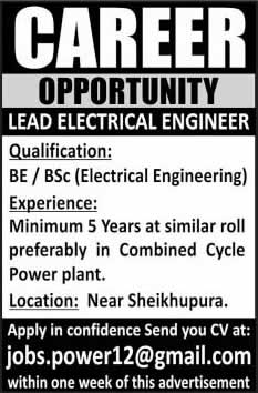 Electrical Engineering Jobs in Sheikhupura 2014 May