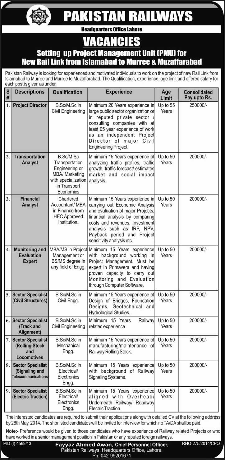 Pakistan Railways Jobs 2014 May Latest