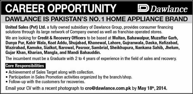 credit recovery officer jobs at dawlance pakistan 2014 may