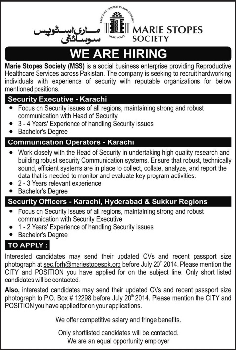 Marie Stopes Society Jobs Pakistan 2014 July for Security Officers & Communication Operators