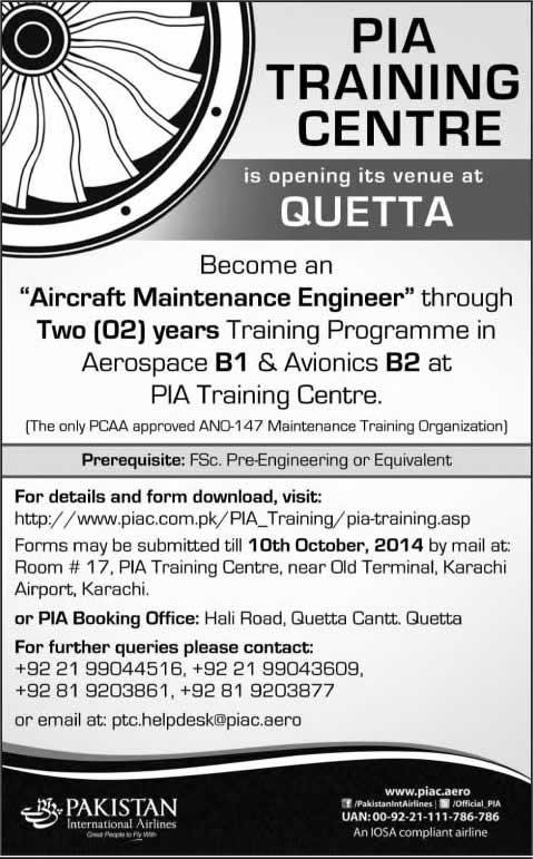 PIA Training Centre Quetta Admissions 2014 October Aircraft