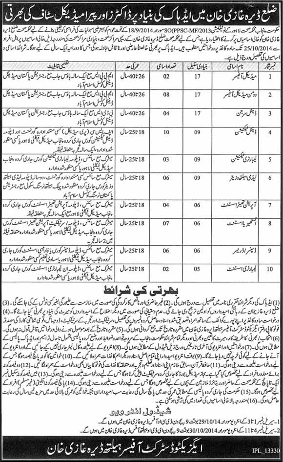 Health Department Dera Ghazi Khan Jobs 2014 October Medical Officers & Paramedical Staff
