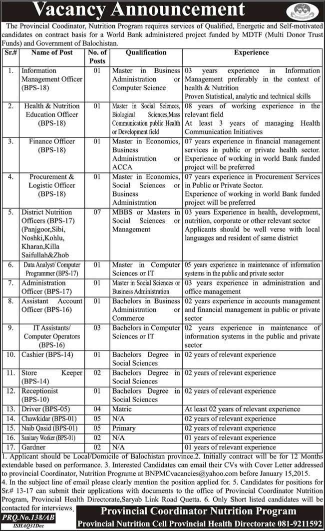 Nutrition Program Balochistan Jobs 2015 Provincial Nutrition Cell ...