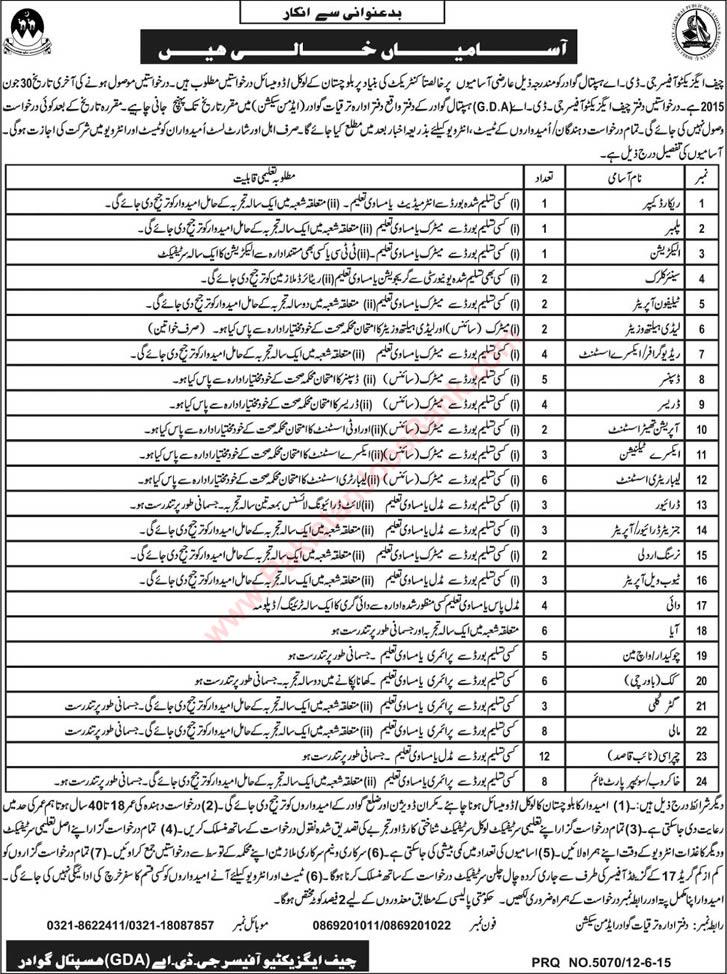 Gda Hospital Gwadar Jobs 2015 June Medical Technicians