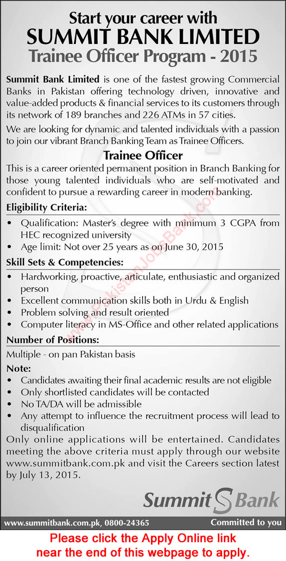 Summit Bank Trainee Officer Jobs 2015 June / July Program Apply Online Latest