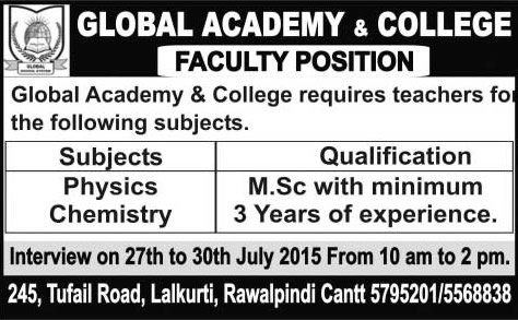 Global Academy & College Rawalpindi Jobs 2015 July Teachers of