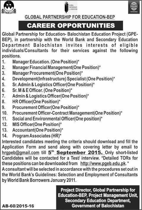 Global Partnership for Education Balochistan Education Project Jobs 2015 August GPE-BEP Latest