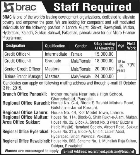 BRAC Pakistan Jobs 2015 October Trainee Branch Managers & Credit Officers Latest