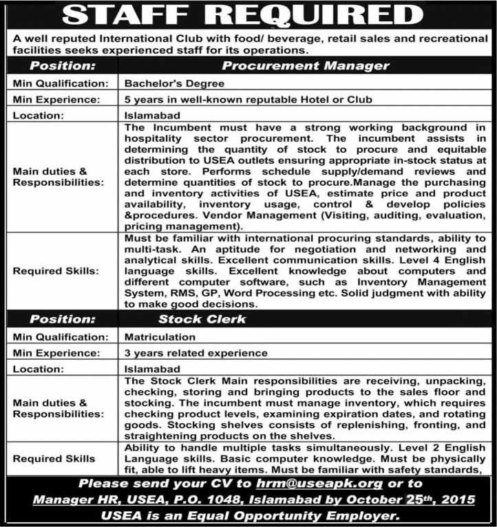 United States Employee Association Islamabad Jobs  October Usea