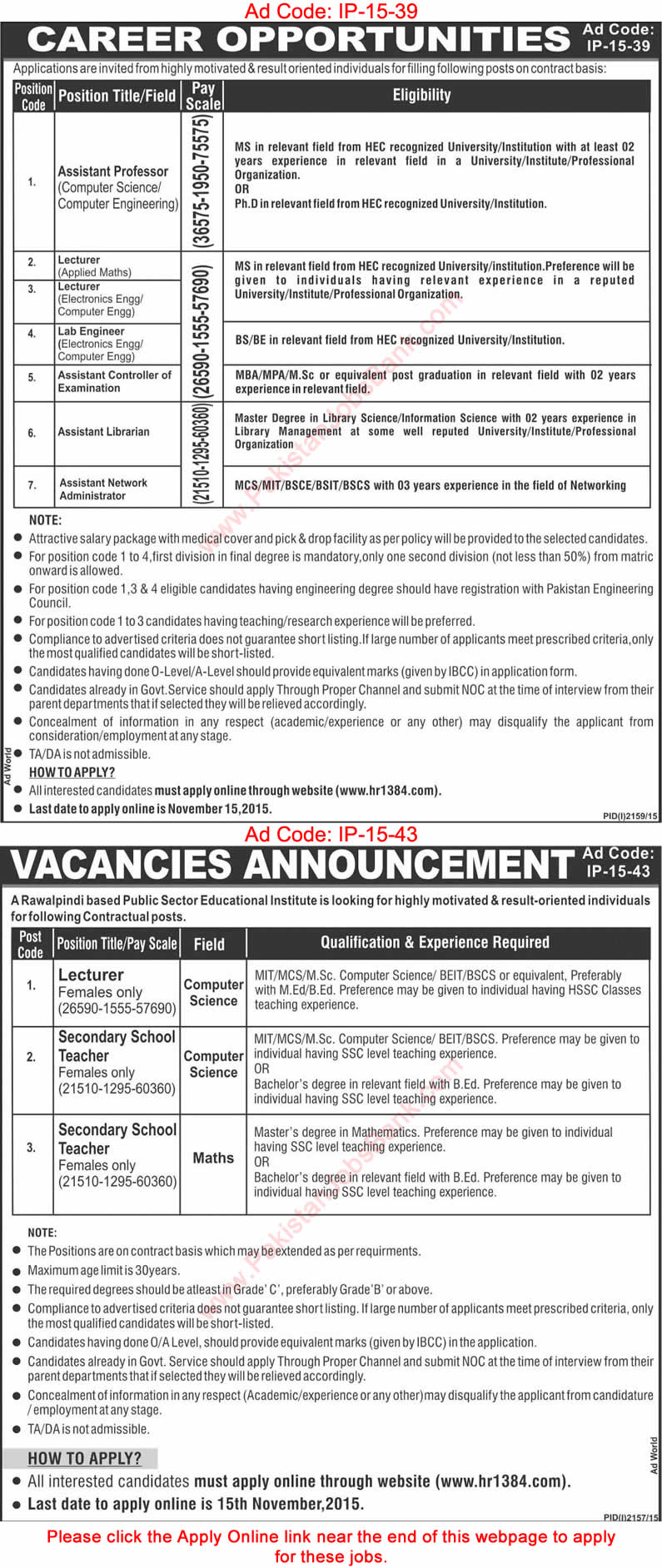 www.hr1384.com Jobs November 2015 KRL Online Apply Public Sector Educational Institutes Latest