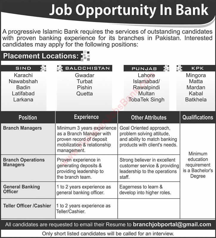 Islamic Banking Jobs in Pakistan 2015 November Branch Managers / Operations, Banking Officers & Cashiers