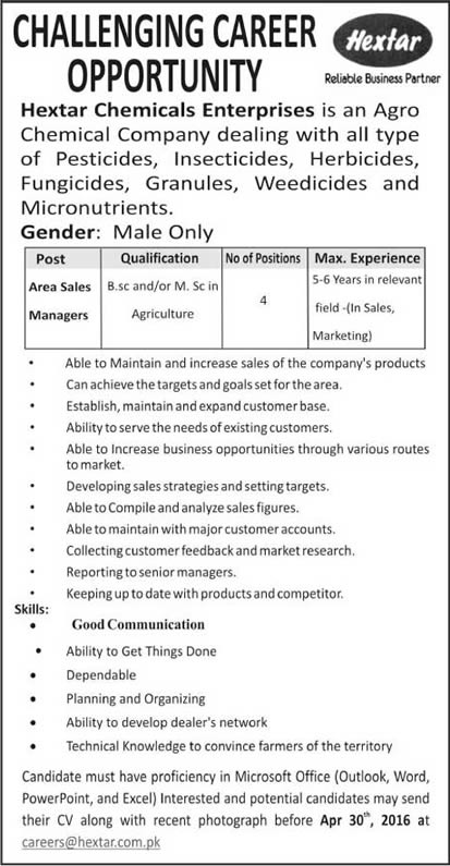 Area Sales Manager Jobs in Lahore April 2016 at Hextar Chemicals ...