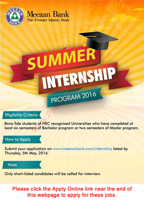 Meezan Bank Summer Internship 2016 Program Apply Online
