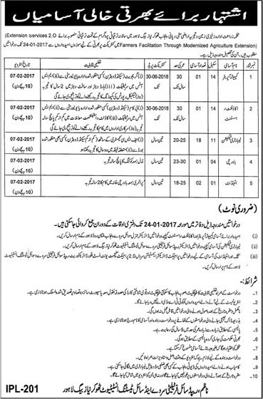 Agriculture Department Punjab Jobs 2017 Lahore Rapid Soil Fertility and Soil Testing Institute Latest