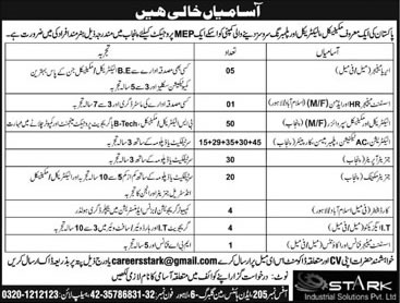 Stark Solutions Pvt Ltd Pakistan Jobs 2017 March Electrical / Mechanical Supervisors, Generator Operators & Others Latest