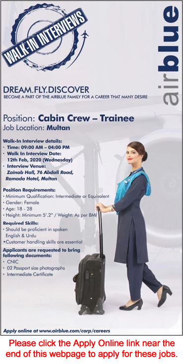 Airhostess Jobs in Air Blue 2020 February Apply Online Female Cabin Crew Trainee Walk in Interviews Latest