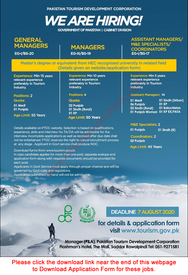 Pakistan Tourism Development Corporation Jobs July 2020 PTDC Application Form Assistant Managers & Others Latest