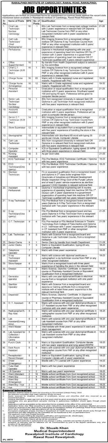 Rawalpindi Institute of Cardiology Requires Medical Technicians, Para Medical Staff and Support Staff (Govt. job)