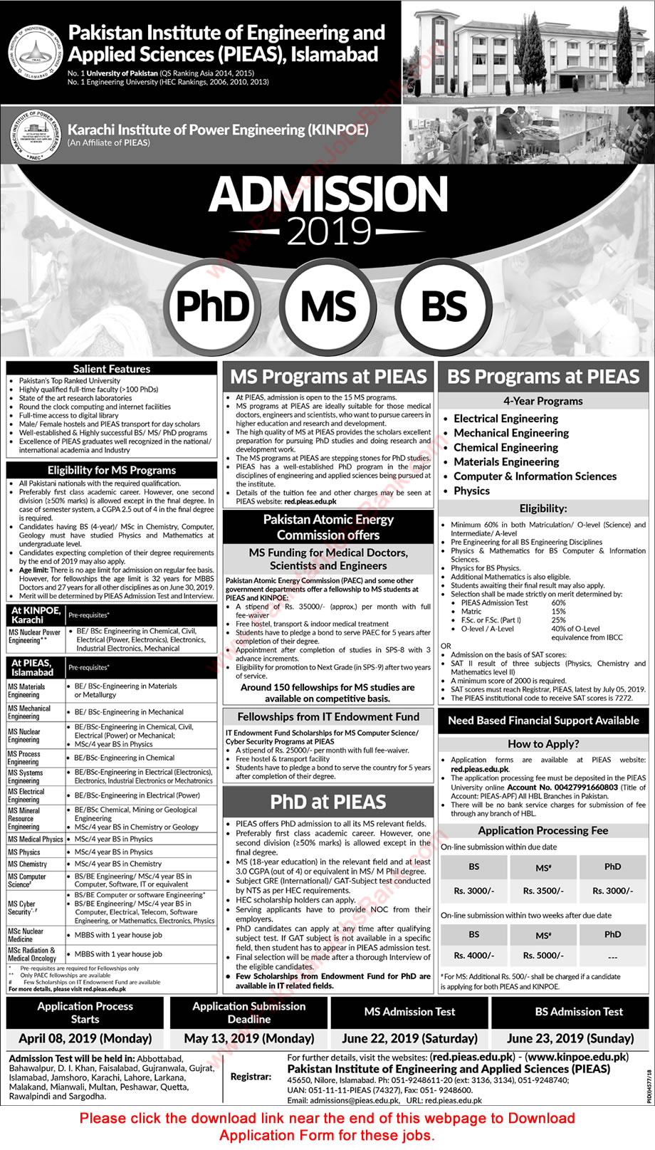 PIEAS Fellowships 2019 MS / Postgraduate Programs for Engineers