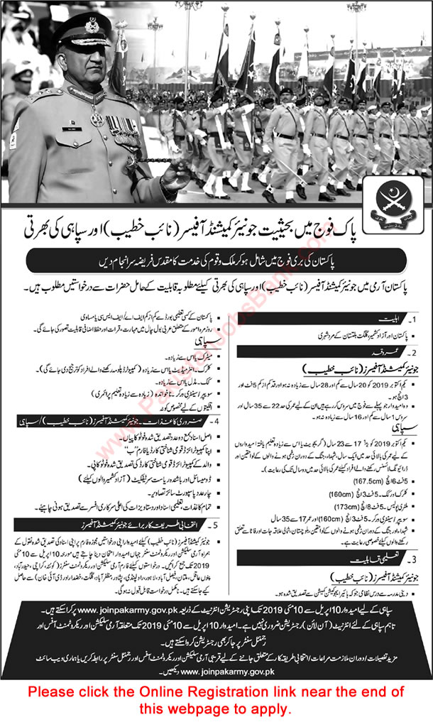 Join Pakistan Army as Soldier & Naib Khateeb 2019 March / April Junior Commissioned Officer Online Registration Latest