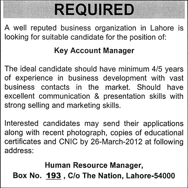 key account manager job in lahore the nation on 14 mar. Black Bedroom Furniture Sets. Home Design Ideas
