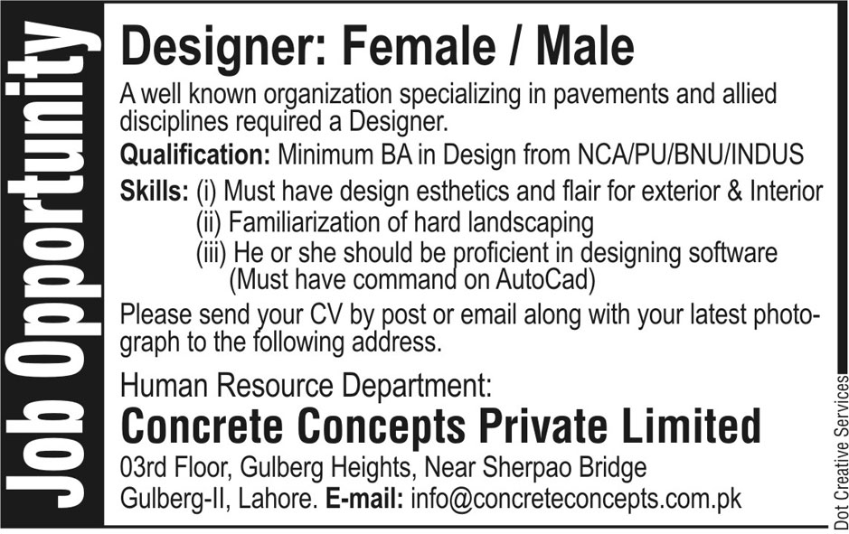Concrete Concepts Private Limited Requires Designer