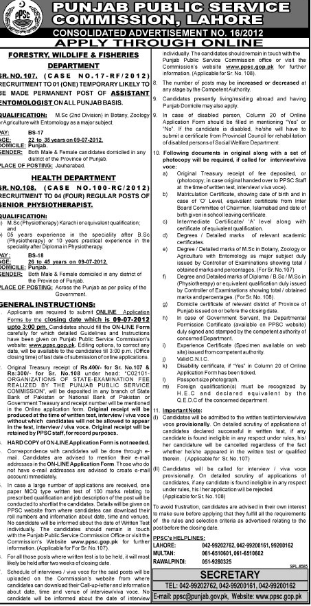 Punjab public service commision job in health department for Department of fish and wildlife jobs