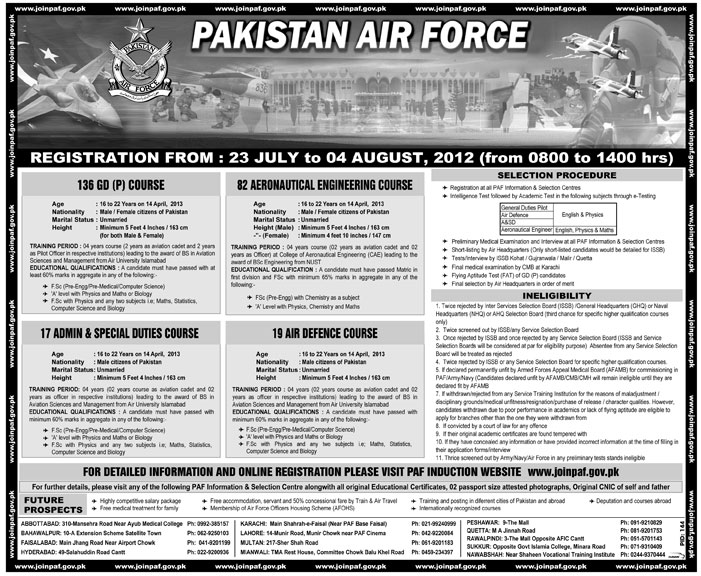 Join Pakistan Air Force Under 136 GDP Course (Government Job)