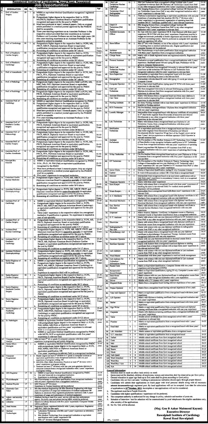 Rawalpindi Institute of Cardiology, Rawal Road, Jobs (Government Jobs)