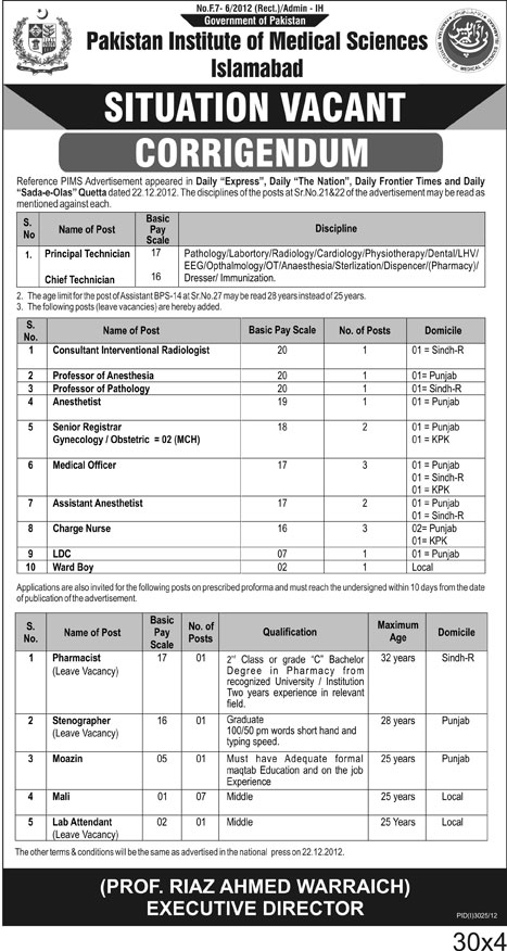 Corrigendum - PIMS Hospital Islamabad Jobs 2013 2012