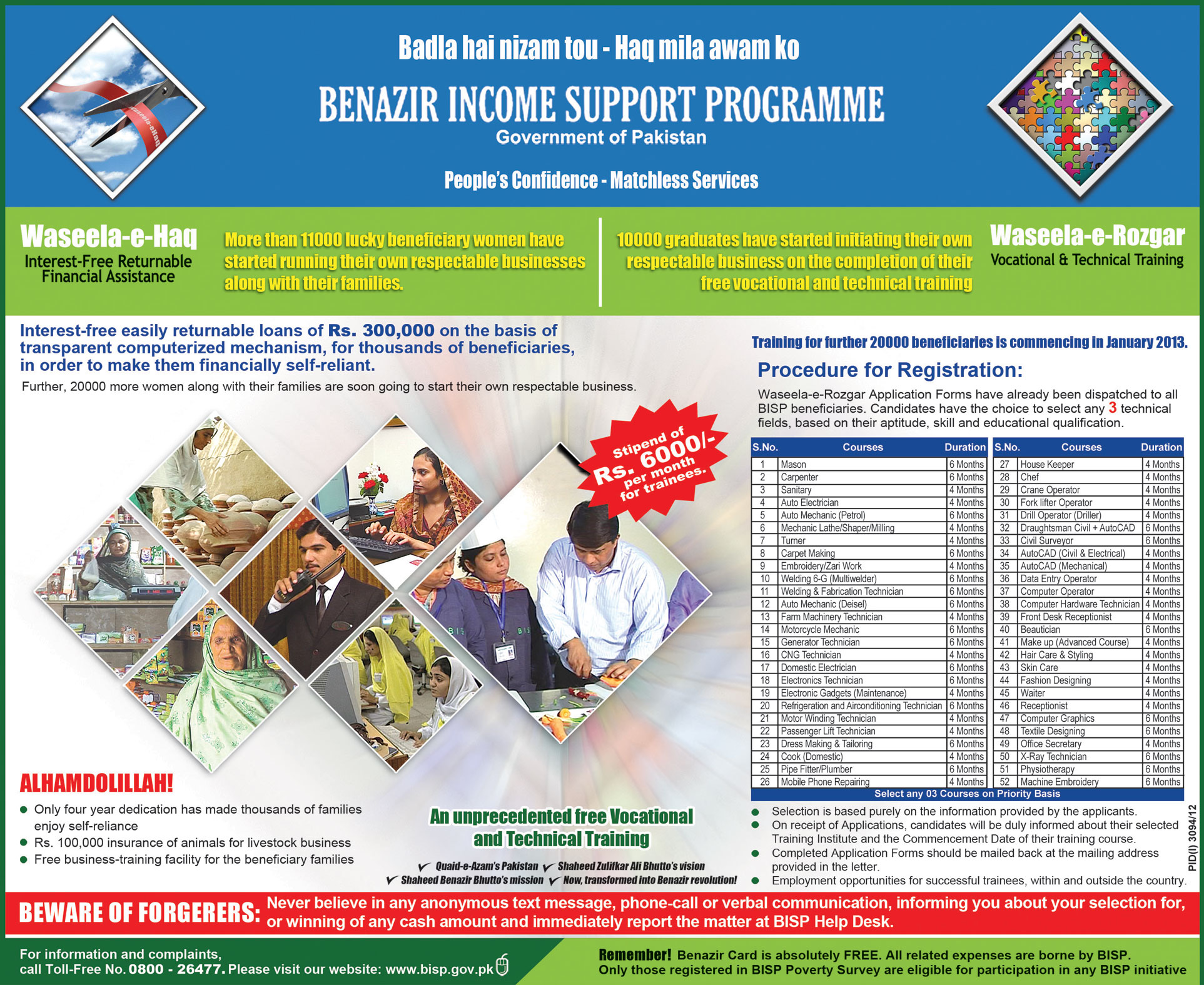 BISP Waseela-e-Rozgar 2013 Registration - Free Vocational & Technical Training