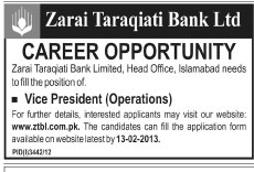 VP Operations Vacancy at ZTBL 2013