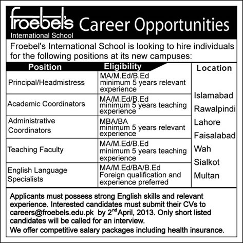 Froebel's International School Jobs 2013