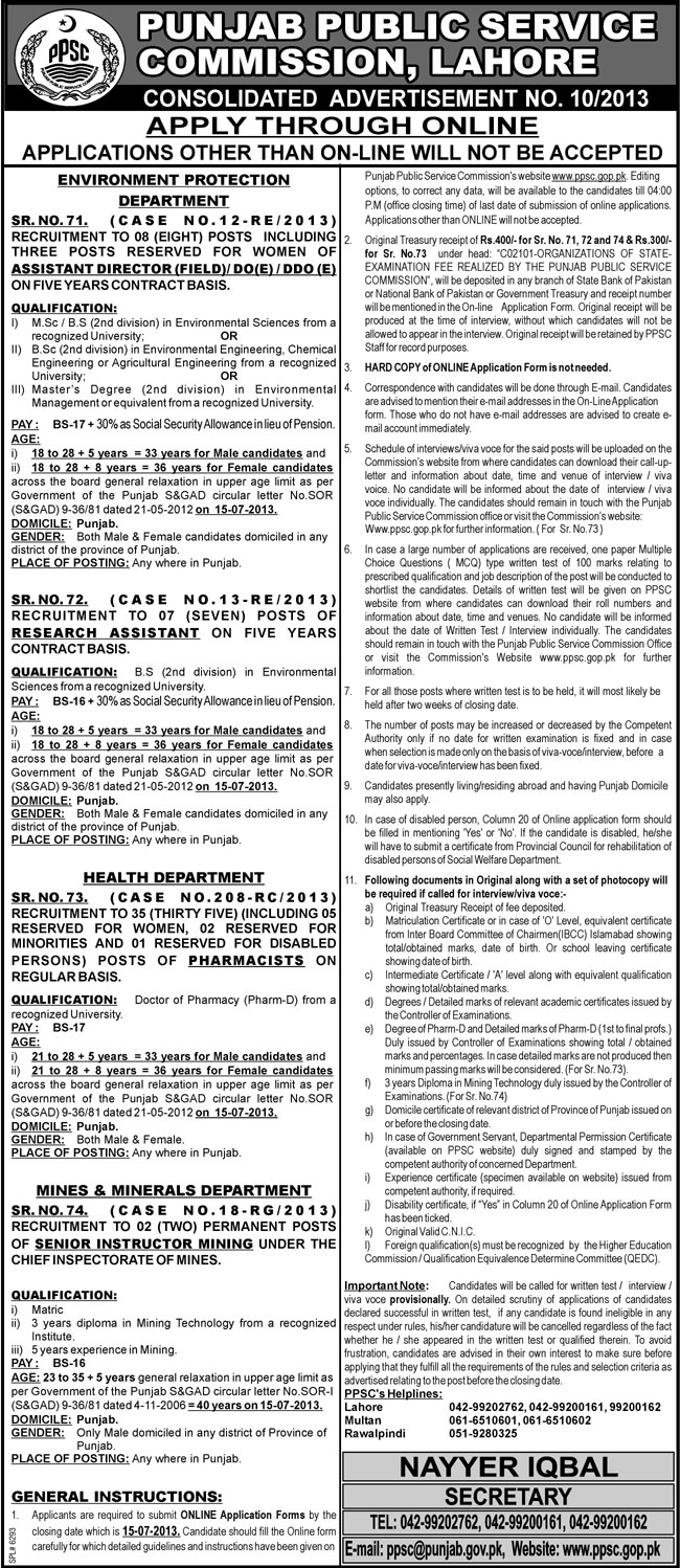 PPSC Jobs June 2013 Latest Consolidated Advertisement No. 10/2013