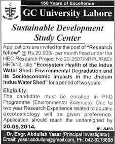 GC University Lahore Jobs 2014 May for Research Fellow