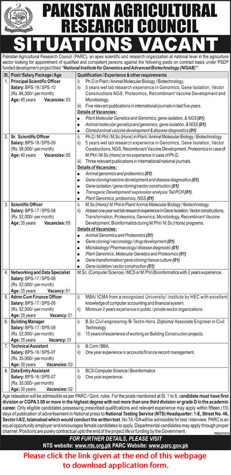 PARC Islamabad Jobs 2015 NTS Application Form Pakistan Agricultural ...