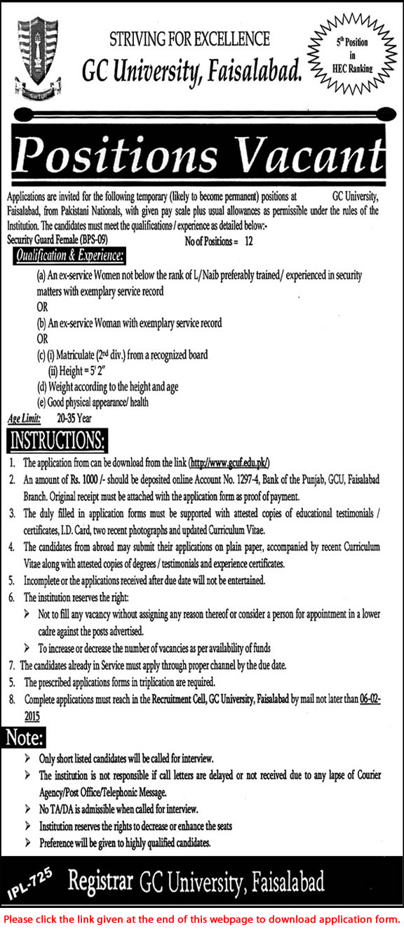 female security guard jobs in gc university faisalabad