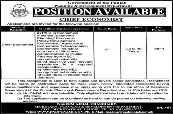 Chief Economist Jobs in Planning & Development Department Punjab 2015 Latest