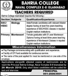 Awesome Bahria College Islamabad Jobs 2015 March Biology Teacher U0026 Montessori  Teacher